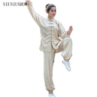 Beige Chinese Women Sportswear Silk Satin Tai Chi Martial Arts Suit Female Vintage Button Clothing XXS