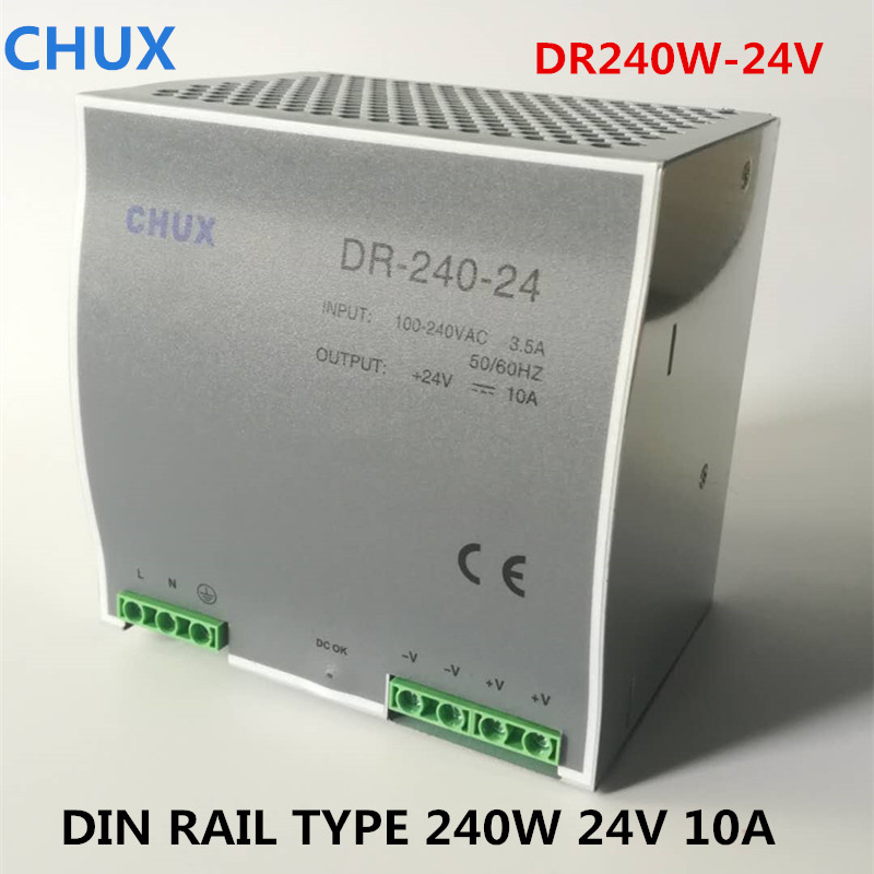 цена на Switching Power Supply 240W Din rail type DC AC DR240W Single Output Switch Transformer LED Driver 24V 10A SMPS