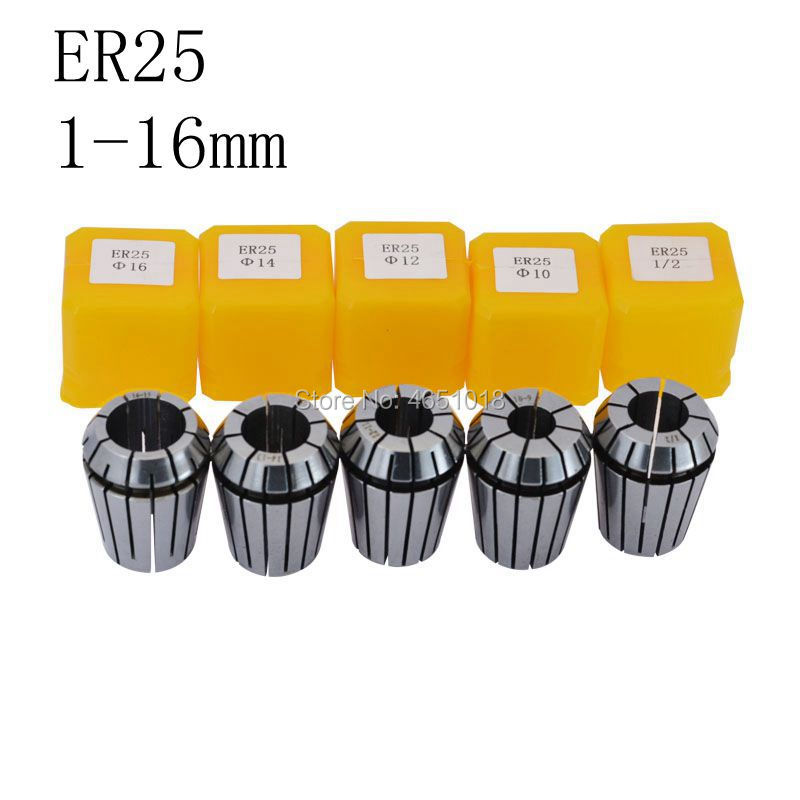 ER25 1/2/3/4/5/6/7/8/9/10/11/12/13/14/15/16mm machine tool accessories for 1pcs elastic high precision ER25 chuck CNC engraving-in Tool Holder from Tools