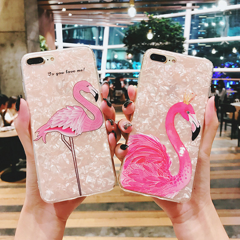 Bling Pink Flamingo Pattern Soft Case For iPhone 6 6S 7 8