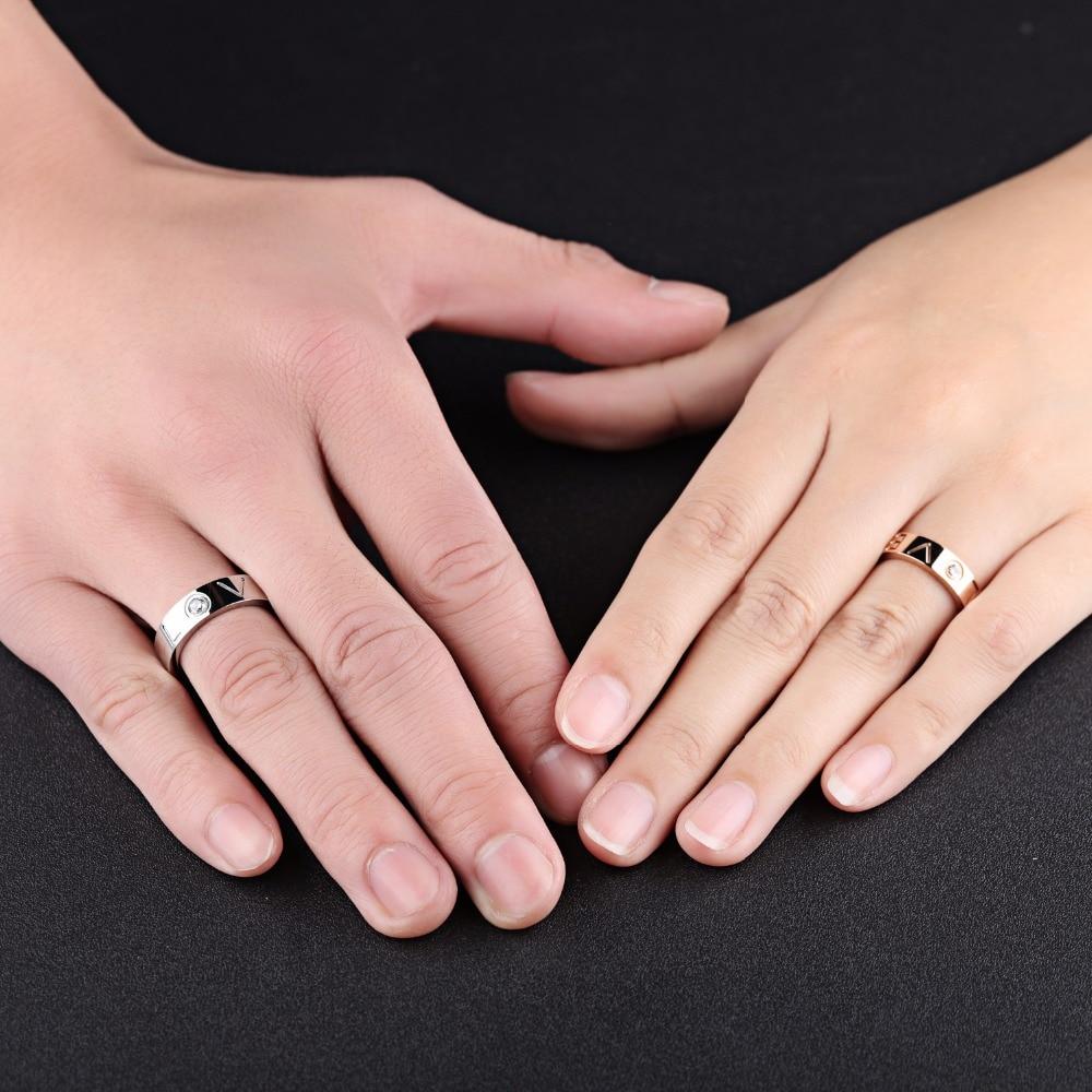 Aliexpress.com : Buy 7SEAS Romantic Lovers Couple Rings Lettering ...