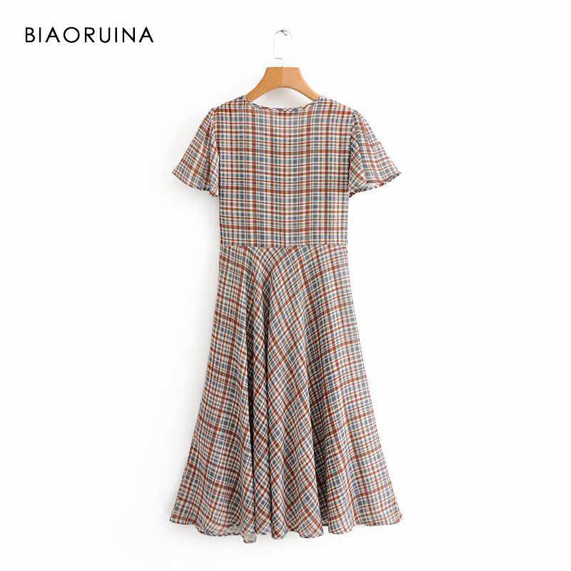 BIAORUINA женское модное клетчатое платье миди с v-образным вырезом и коротким рукавом, Офисная Женская летняя с высокой талией, длинное платье, Новое поступление