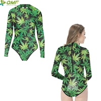 Green Weed Leaf Desktop Full Print Swimsuit One Piece Monokinis Long Sleeve  Diving Wear Rash Guard 92b4e1557