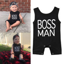 2018 New Summer Cotton Newborn Boss Man Black Romper Kids Baby Boy Sleeveless Romper Jumpsuit Toddler One-Pieces Clothes Outfits(China)