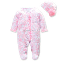 2016 Princess Newborn Baby Girl Clothes Infant Body Suits Floral Romper Hat Fashion Baby Jumpsuit Sets