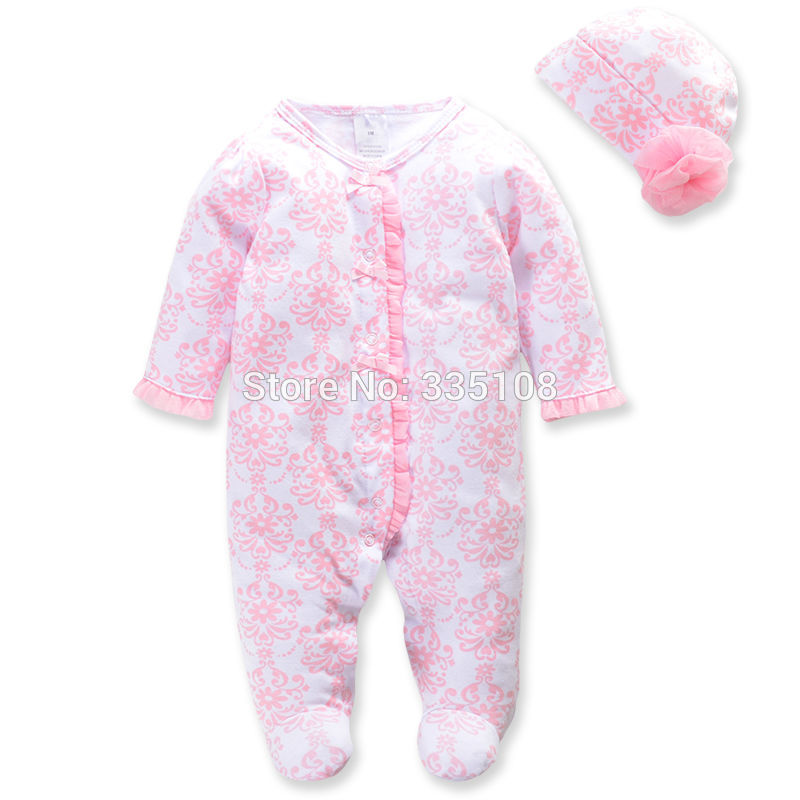 Princess Newborn Baby Girl Clothes Infant Body Suits Floral Romper & Hat Full Baby Jumpsuit for Spring Girls Clothing Set free shipping new 2017 spring autumn baby clothing infant set gift baby jumpsuits newborn romper 4pcs set 2pcs romper hat bib