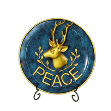 Europe Retro Deer Plate Model Miniatures Creative Resin Craft Desktop Figurines Home Decoration Accessories Wedding Gifts