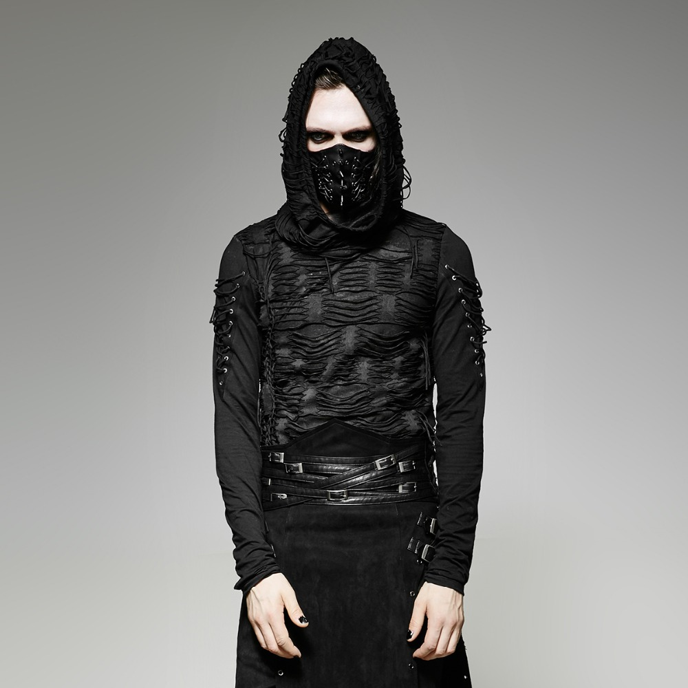 shirt Capuche Pour T Hommes À Foncé Noir Mystérieux Trou Gothique vxpfa77