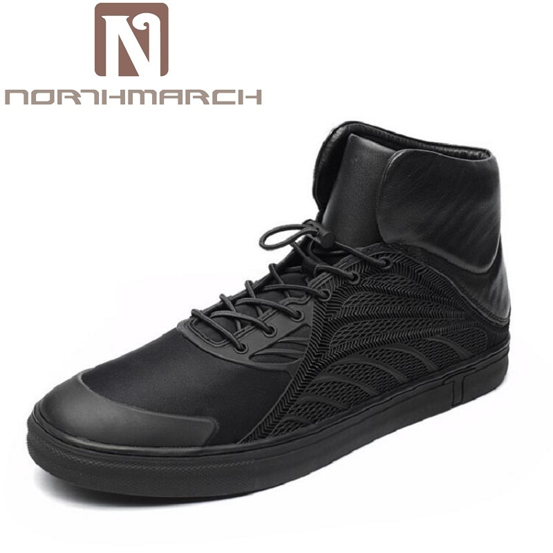 NORTHMARCH Men Shoes Fashion Black Men Boots Round Toe Genuine Leather Riding Boots British Style Winter Outdoor Men Shoes Botas цены онлайн