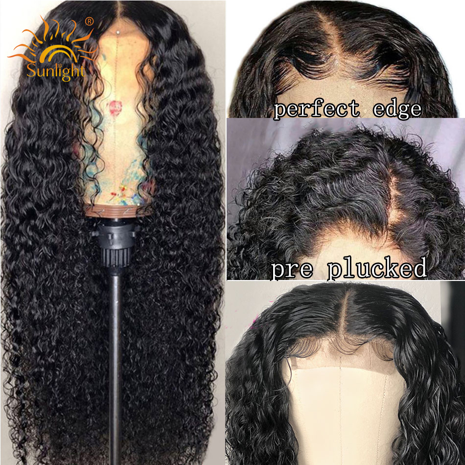 Brazilian Deep Wave Wig Glueless Lace Front Human Hair Wig For Black Women Pre Plucked Lace Wigs Sunlight Remy human hair wigs(China)