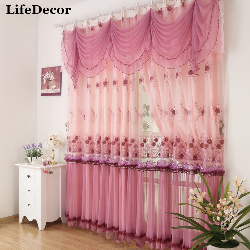 Fashion Stripe Rustic Curtain Yarn Bedroom Living Room: Rustic Finished Products Lace Curtain Quality Embroidered