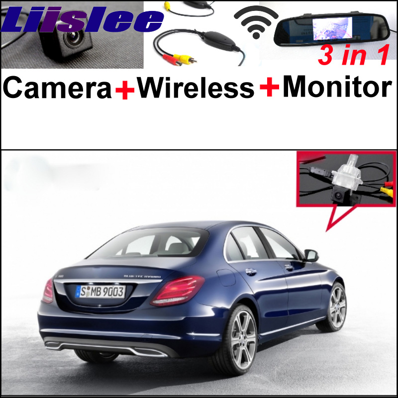 3 in 1 Special WiFi Camera + Wireless Receiver + Mirror Monitor Parking BackUp System For Mercedes Benz C MB W205 2014 2015 liislee for mercedes benz cl mb w216 cls w218 special camera wireless receiver mirror screen 3in1 backup parking system