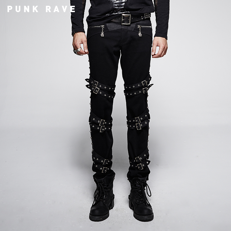 PUNK RAVE Gothic Kera Mens Cotton black Pants
