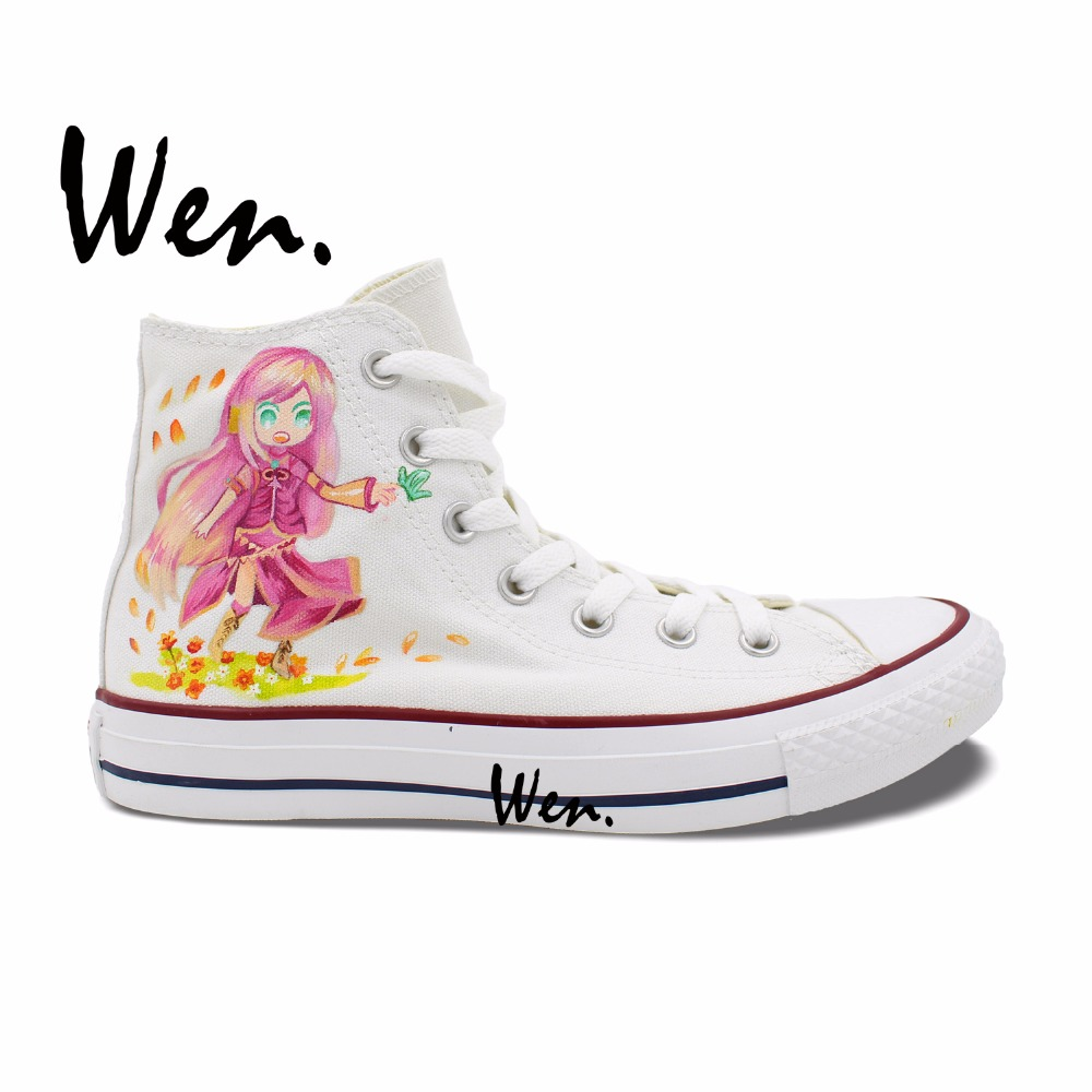 Wen Woman's Hand Painted Shoes VOCALOID Megurine Luka Anime High Top Men Women's White Canvas Sneakers for Gifts wen original hand painted canvas shoes space galaxy tardis doctor who man woman s high top canvas sneakers girls boys gifts