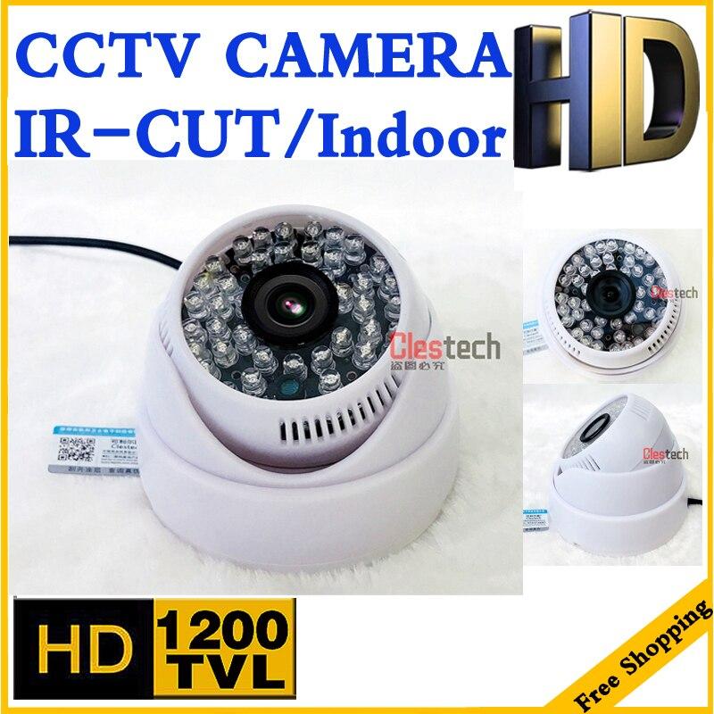 Nova Atualização 48led 1200tvl câmera de cctv HD CMOS Analógico PAL ou NTSC vidicon infrared Night Vision Dome segurança home Indoor vídeo