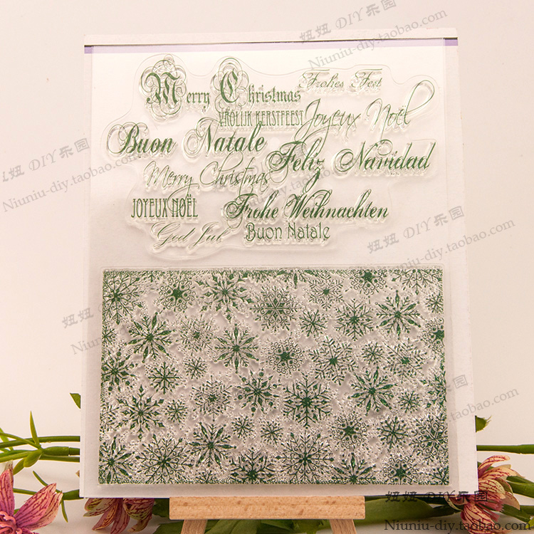 Snowflake background Scrapbook DIY photo cards account rubber stamp clear stamp flower seal kid transparent silicone gift stamps