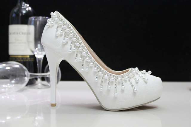 Crystal Shoes Wedding Shoes Pearl Wedding bridal Shoes Rhinestone handmade Women's Shoes White High Heels Pumps Free Shipping