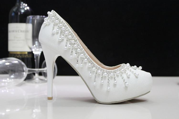 Crystal shoes wedding shoes pearl wedding bridal shoes rhinestone handmade women s shoes white high heels
