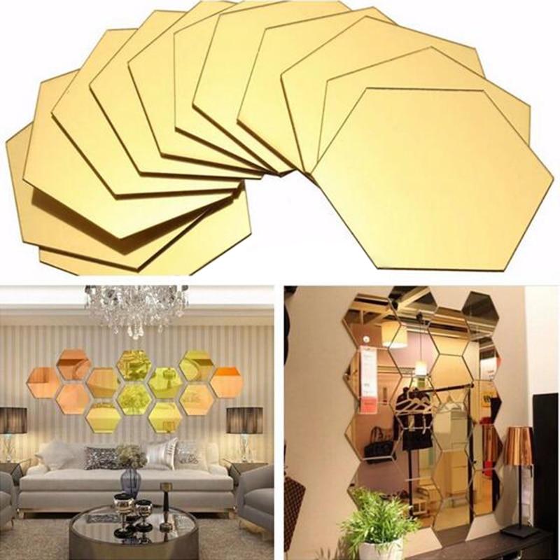 8Pcs 3D Silver Gold Mirror Hexagon Vinyl Removable Wall ...
