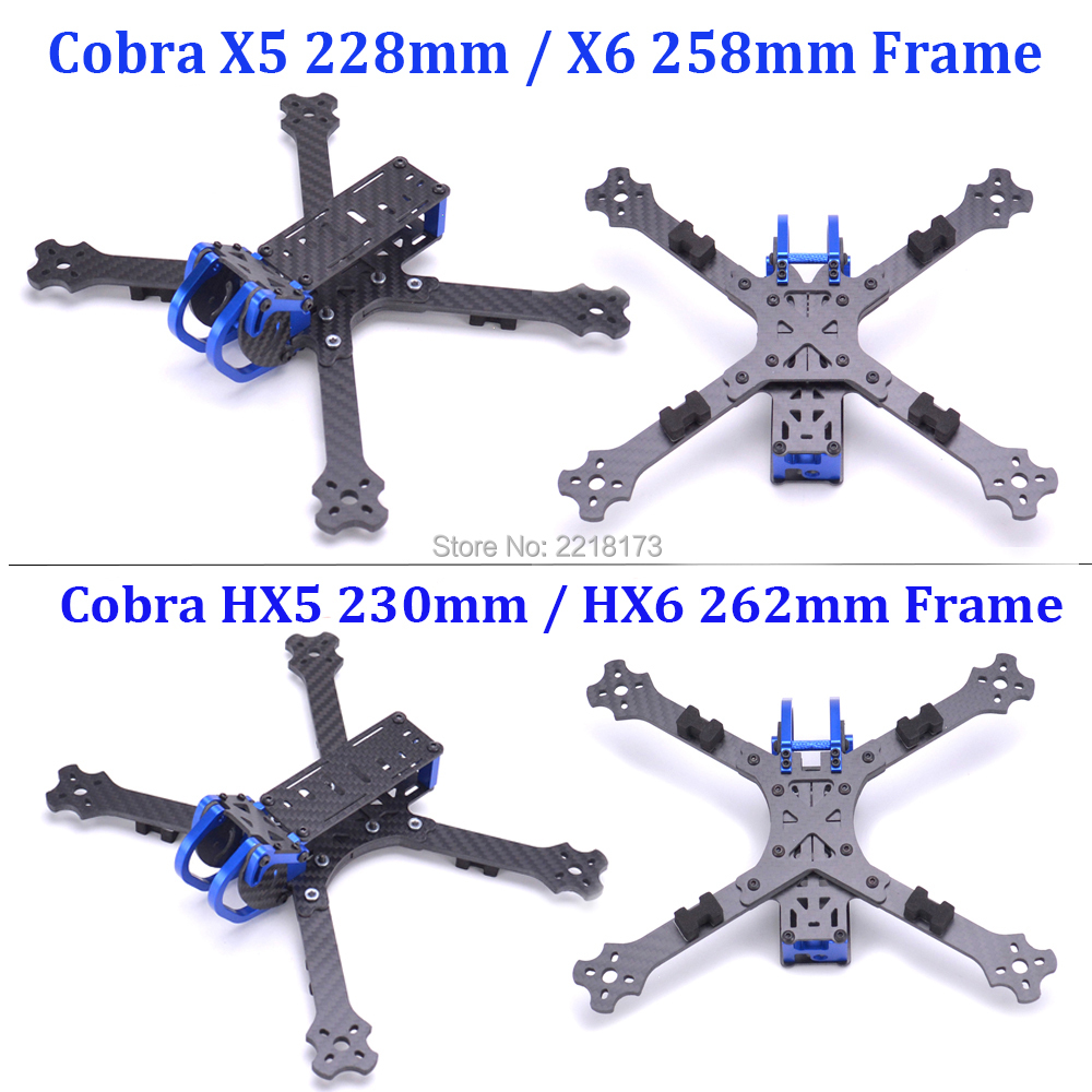 Cobra X5 228 228mm / HX5 230 230mm 5 inch / X6 258mm / HX6 262mm 6 inch carbon fiber FPV Quadcopter with 4mm arm for Rooster 230