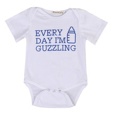 Summer 2017 Newborn Infant Baby Boy Girl Short Sleeve Romper Bottle Jumpsuit Outfits Sunsuit Clothes(China)