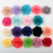 20pcs/lot 3″ Chiffon Silk Rosettes Rose Flower Boutique Baby Head Headbands Flowers For Girls Women Hair / Wedding Accessories