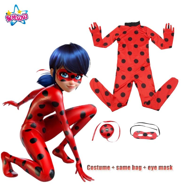 Free Shipping Fantasia spandex Ladybug Suits Cosplay Costumes Holiday Girls Marinette Ladybug Jumpsuits Lycra Zentai 5-16Year