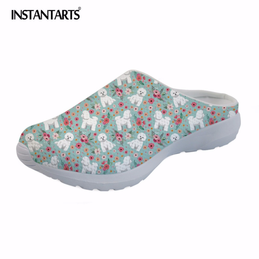 INSTANTARTS Bichon Frise Flower Sandals Women Summer Air Mesh Beach Flat Water Shoes Cute Dog Floral Female Slip On Slippers instantarts women flats emoji face smile pattern summer air mesh beach flat shoes for youth girls mujer casual light sneakers