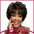 Медуза продукты волос: современные Синтетические Афро-американских парики для женщин Короткие вьющиеся пушистый стили Смешивать цвета парик с челкой SW0260
