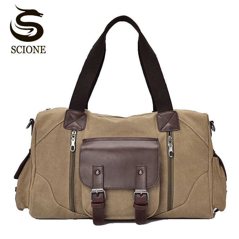 Canvas Leather Luggage Handbags Large Mens Travel Bag High Quality Canvas Travel Duffel Bags Male/Female Travel Shoulder Bags