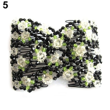 Hot Elegant Stretch Rose Flower Bow Glass Bead Hair Head Double Insert Clips  Comb Cuff 5BS2 7GLQ