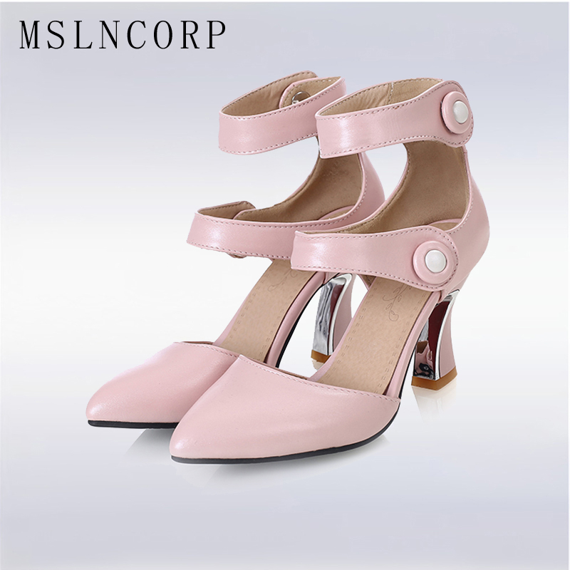 plus size 34 43 New Fashion Sexy Gladiator Sandals Pointed Toe High Heels Shoes Buckle Women Ladies Party Pumps Ankle Boots in High Heels from Shoes