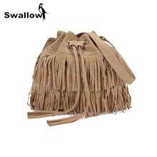 European American Style Drawstring Denim Bucket Bag Women With Tassel Shoulder Bag Messenger String Retro Khaki Fashion Bag Lady