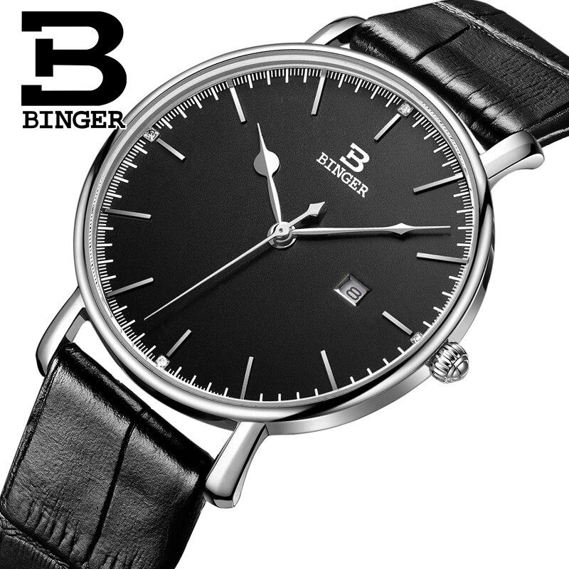 New Switzerland BINGER Men s Watches Luxury Brand Quartz Leather Strap Ultrathin Male Wristwatches Waterproof Clock