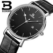 Suisse BINGER hommes de montres de luxe marque quartz bracelet en cuir ultra-mince Calendrier Complet Montres Étanche B3053M-2