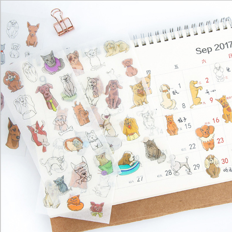 6pcs lot Puppy paper sticker DIY decoration sticker for album scrapbooking diary kawaii office School Supplies stationery in Stationery Stickers from Office School Supplies