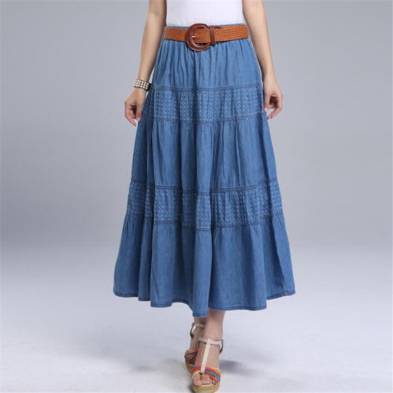 Women Summer Denim Skirts High Waist Plus Size Long Skirt Vintage Solid Color A-Line Jean Skirt With Belt 2019 Spring A5390
