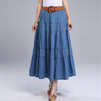 Women Summer Denim Skirts High Waist Plus Size Long Skirt Vintage Solid Color A Line Jean Skirt With Belt 2019 Spring A5390
