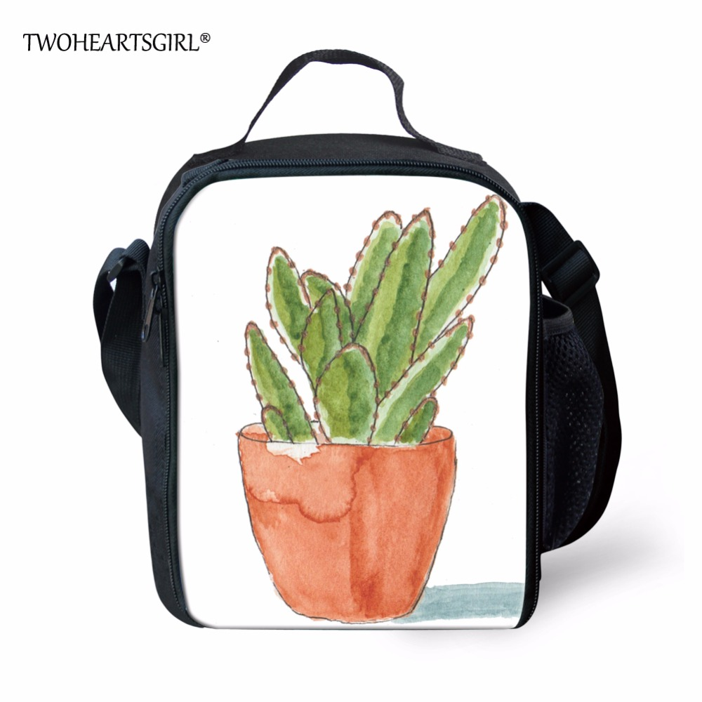TWOHEARTSGIRL Cactus Fresh Pattern Lunch Bag Insulated Kid Lunch Box Teenager Mesh Pocket Lunch Tote Easy Carry Lunch Bag Zipper