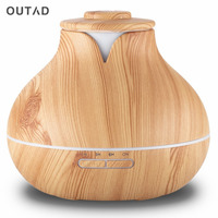Electric 400ml Aroma Essential Oil Diffuser Aromatherapy Ultrasonic Air Humidifier With Wood Grain 7 Color Changing