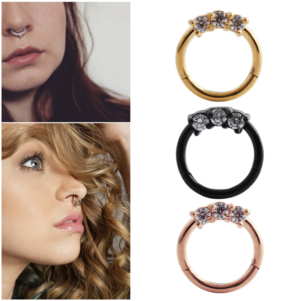 Gagabody 16g 10mm G23 Titanium Hinged Septum Clicker Segment Nose Closure Ring Ear Cartilage Body Jewelry Prong Set Clear Cz Gem Jewelry & Accessories