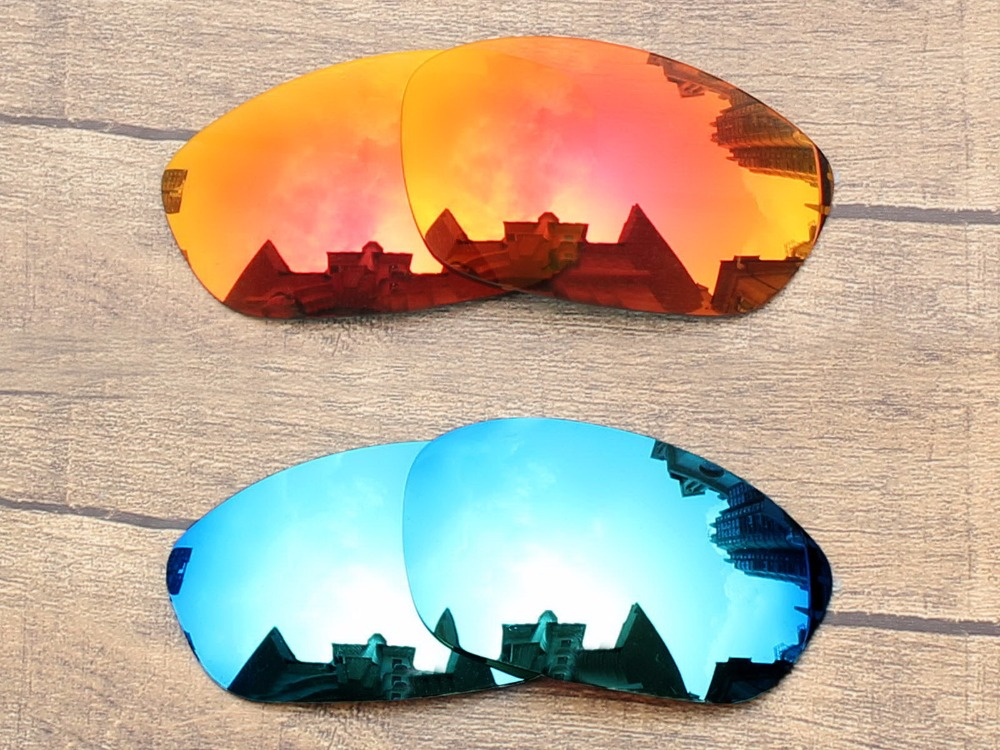 04e1424b6beb1 Fire Red   Ice Blue 2 Pairs Mirror Polarized Replacement Lenses For ...