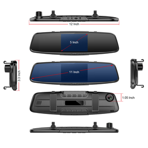 """Image 5 - Ruccess 5.0 """"rejestratory samochodowe 3 w 1 lusterko wsteczne rejestrator policja wykrywacz radarów z GPS FHD 1080p Dashcam podwójny obiektyw do telefonu kamera DVR"""