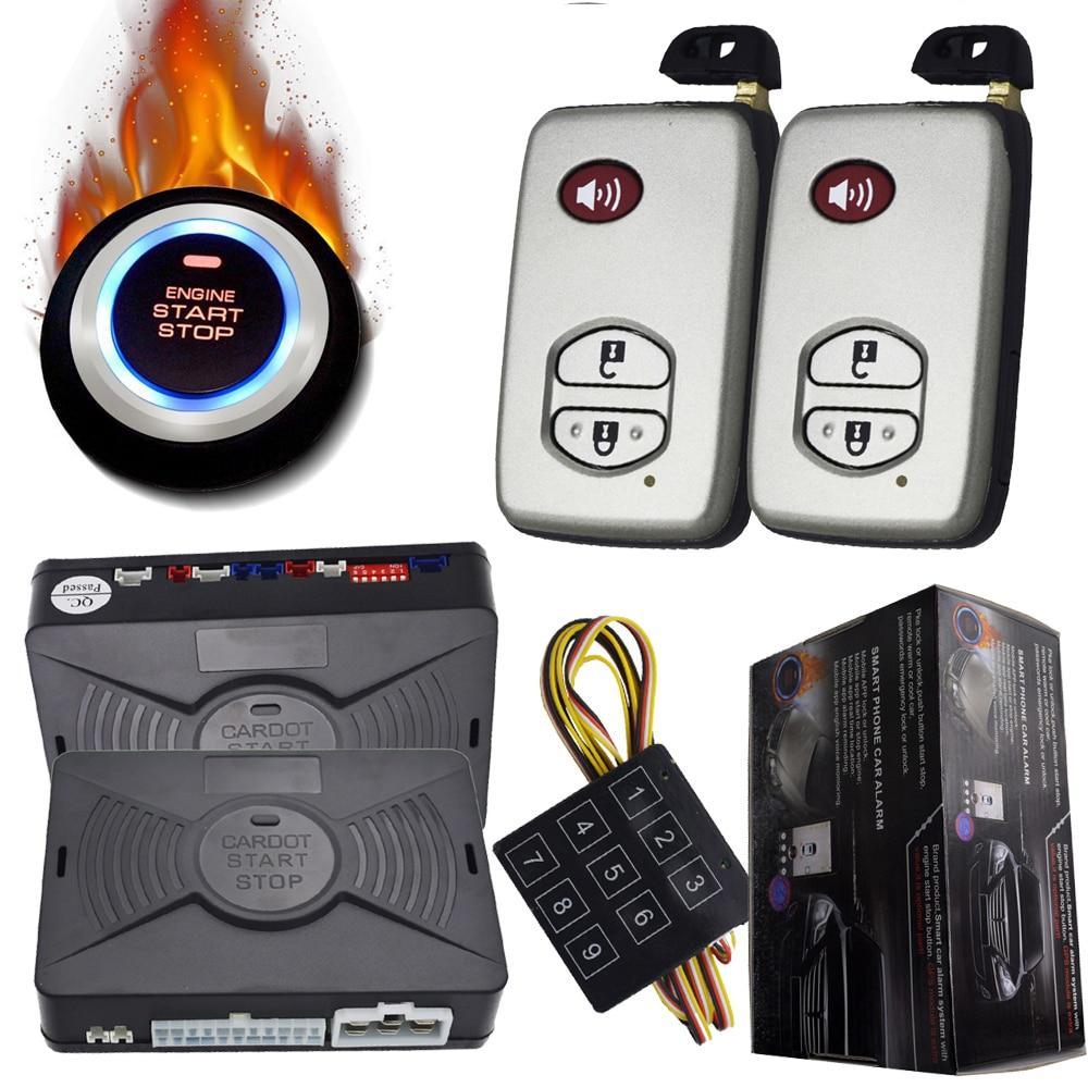 Système d'alarme intelligent de sécurité de voiture bouton d'arrêt de démarrage d'allumage automatique sans clé