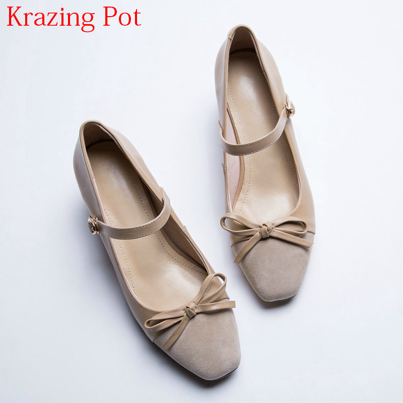 2018 Fashion Round Toe Office Lady Ankle Straps Butterfly Knot Women Sandals Genuine Leather Med Heels Summer Shallow Shoes L3f2 2017 new summer fashion women casual shoes genuine leather lady leisure sandals gladiator all match ankle peep toe flowers