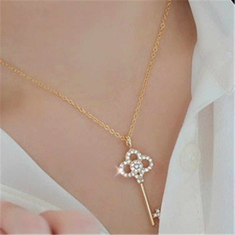 New Wholesale Fashion Hollow Crystal Rhinestone Gold Silver Key Chain Clavicle Womens Pendant Necklace For Women Jewelry