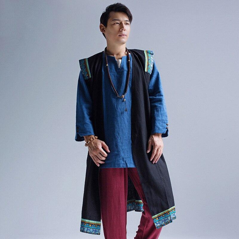 Nouveau hommes bohême lin coton tranchée Hommes rétro long gilet de haute qualité lâche cardigan manteau hip hop punk outwear 060602