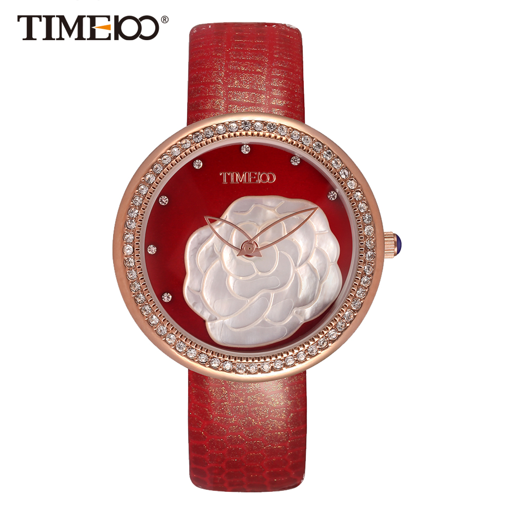 ФОТО Time100 Fashion Women's Watches Red Leather Strap Quartz Watches Diamond Shell Big Dial Ladies Wrist Watch relogios feminino