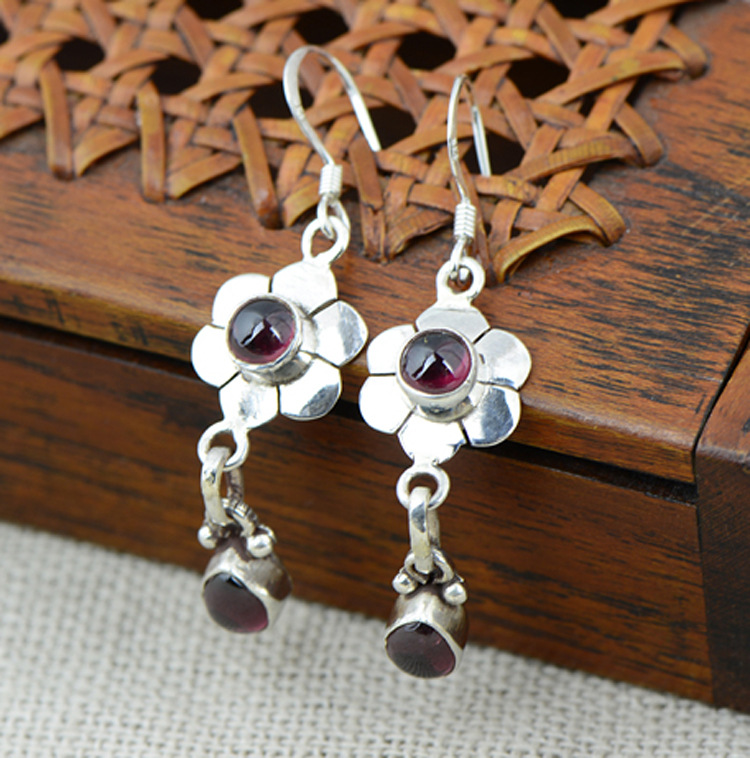 S925 Sterling Silver Earrings long flower Beautiful Vintage Garnet earrings