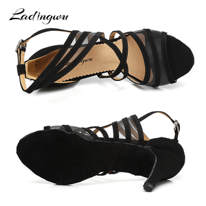Image 4 - Ladingwu Women Dance Shoes Latin Flannel and Mesh Salsa Dance Shoes Red Brown Black Sneakers Dance Shoes Ballroom Heel 9cm